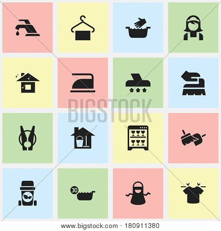 Set Of 16 Editable Dry-Cleaning Icons. Includes Symbols Such As Clothes Washing, Cold Water, Pure Home And More. Can Be Used For Web, Mobile, UI And Infographic Design.