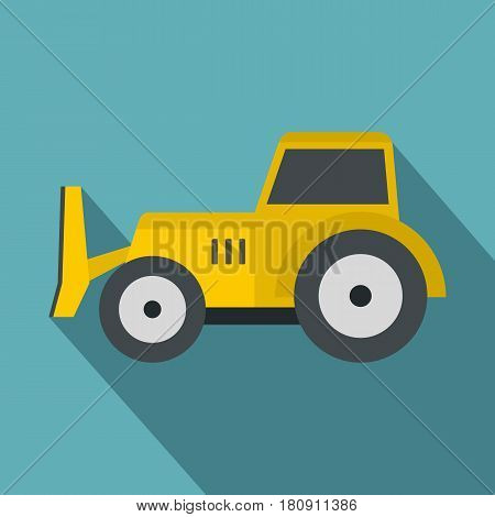 Skid steer loader bulldozer icon. Flat illustration of skid steer loader vector icon for web