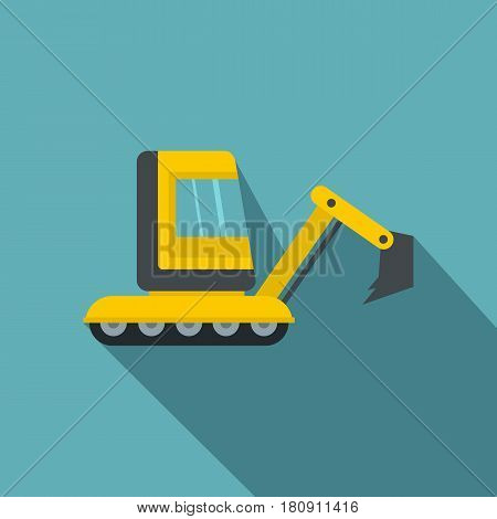 Yellow mini excavator icon. Flat illustration of yellow mini excavator vector icon for web
