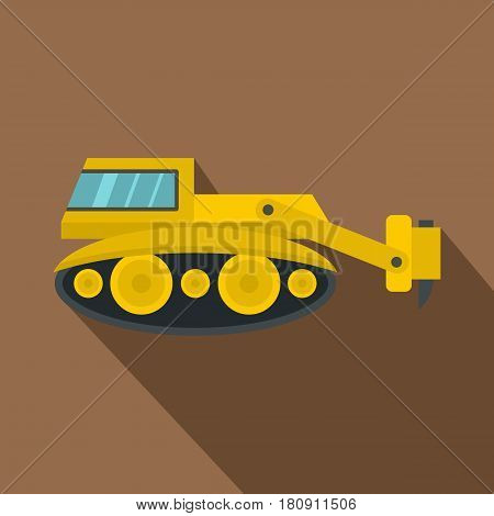 Excavator with hydraulic hammer icon. Flat illustration of excavator with hydraulic hammer vector icon for web