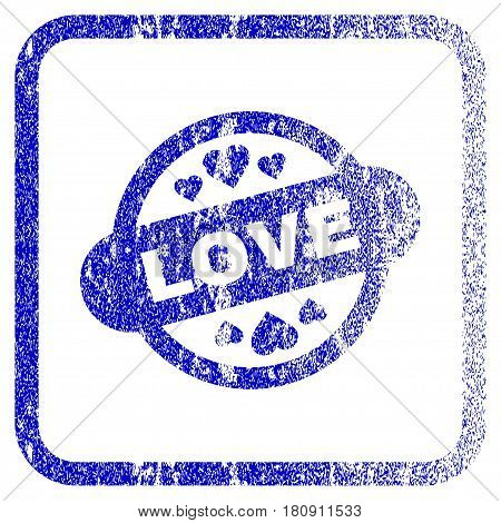 Love Stamp Seal textured icon for overlay watermark stamps. Blue vectorized texture. Flat vector symbol with scratched design inside rounded square frame. Framed blue rubber seal stamp imitation.