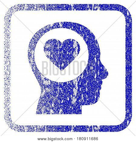 Love Thinking Head textured icon for overlay watermark stamps. Blue vectorized texture. Flat vector symbol with dust design inside rounded square frame. Framed blue rubber seal stamp imitation.