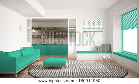 Minimalist living room with sofa big round carpet and kitchen in the background white and turquoise modern interior design, 3d illustration