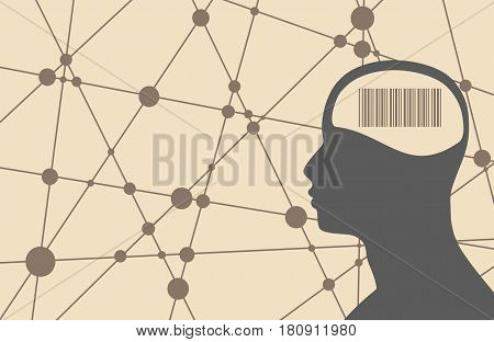 Silhouette of a man's head with barcode. Mental health relative brochure, report or flyer design template. Scientific medical designs. Connected lines with dots. Vector illustration