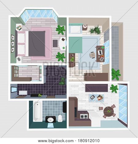 Interior of the apartment in perspective. Floor plan top view.
