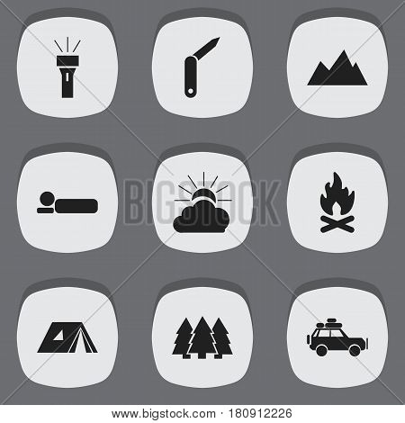 Set Of 9 Editable Camping Icons. Includes Symbols Such As Shelter, Voyage Car, Lantern And More. Can Be Used For Web, Mobile, UI And Infographic Design.