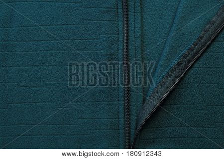 Green Textile Jacket With Zipper Close-up