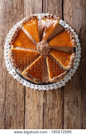 Tasty Hungarian Dobosh Torte With Caramel Decoration Close-up. Vertical Top View