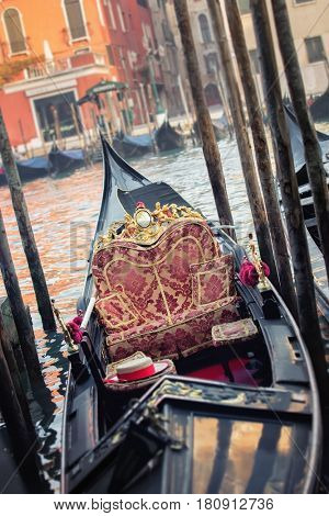 Venice empty gondola at morning, Italy, Grand Canal