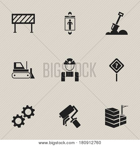 Set Of 9 Editable Building Icons. Includes Symbols Such As Oar, Bulldozer, Employee And More. Can Be Used For Web, Mobile, UI And Infographic Design.