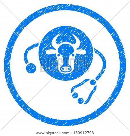 Cow Veterinary grainy textured icon inside circle for overlay watermark stamps. Flat symbol with dust texture. Circled vector blue rubber seal stamp with grunge design.