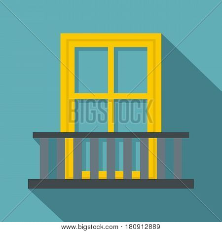 Balcony with a yellow window icon. Flat illustration of balcony with a yellow window vector icon for web