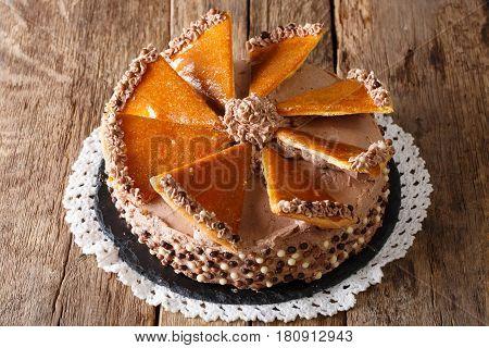 Hungarian Dobosh Torte With Caramel And Butter Cream Close-up. Horizontal