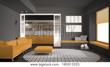 Minimalist living room with sofa big round carpet and kitchen in the background gray and yellow modern interior design, 3d illustration