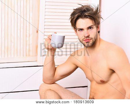 Caucasian Bearded Sexy Macho Holding Coffee Cup