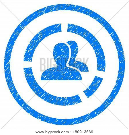 Demography Diagram grainy textured icon inside circle for overlay watermark stamps. Flat symbol with scratched texture. Circled vector blue rubber seal stamp with grunge design.