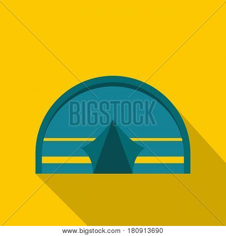 Blue touristic camping tent icon. Flat illustration of blue touristic camping tent vector icon for web