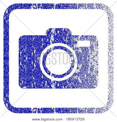 Photo Camera textured icon for overlay watermark stamps. Blue vectorized texture. Flat vector symbol with scratched design inside rounded square frame. Framed blue rubber seal stamp imitation.