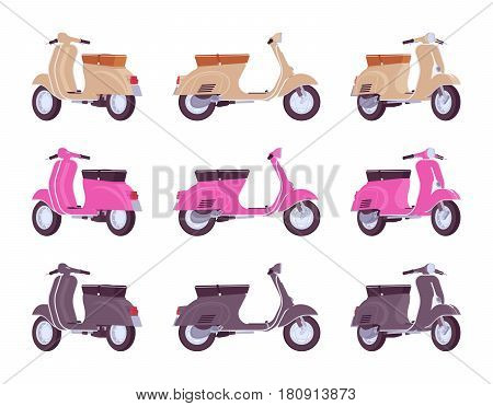 Set of classic scooters in beige, pink, black colors. Transport for urban journey, city discovery, fun or fast delivery, isolated on white background, different positions