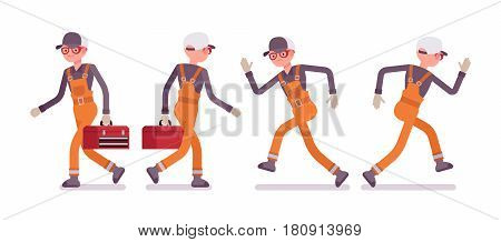 Set of male professional busy industrial service worker in running pose, wearing bright orange overall, holding toolbox, smiling and unhappy, full length, front, rear view, isolated, white background