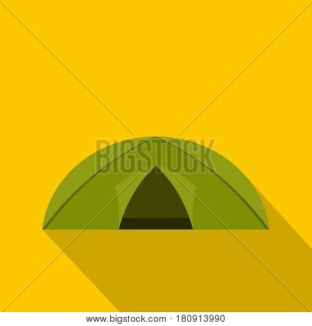 Green tent for camping icon. Flat illustration of green tent for camping vector icon for web