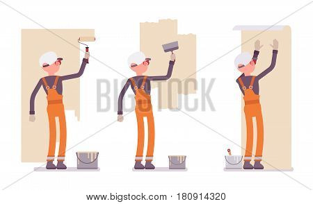 Set of male construction worker wearing orange overall making repairs indoor, preparing surface, working with walls, smoothing, painting, gluing wallpaper, full length, isolated, white background