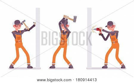 Set of male construction worker wearing orange overall making repairs indoor, working with walls and ax, hammering a nail, drilling, skilled craftsmen, full length, isolated on white background