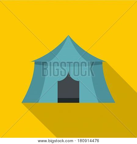 Blue yellow tourist tent for travel and camping icon. Flat illustration of blue yellow tourist tent for travel and camping vector icon for web