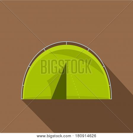 Green touristic camping tent icon. Flat illustration of green touristic camping tent vector icon for web