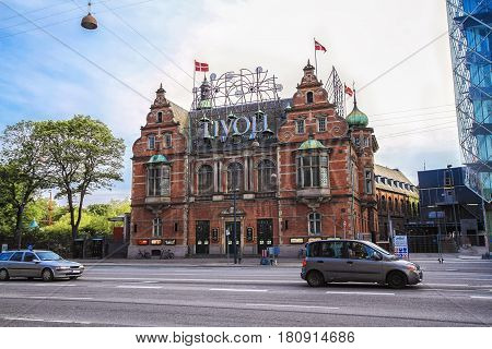 COPENHAGEN DENMARK - JUNE 15: Tivoli building facade. Built in 1843 it is the most famous amusement park in Denmark in 2012