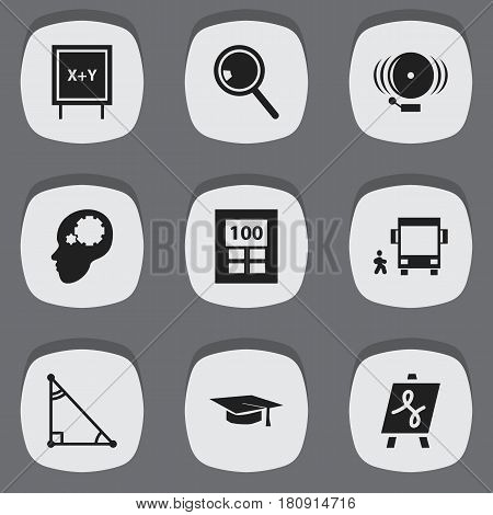 Set Of 9 Editable Education Icons. Includes Symbols Such As Handglass, Triangle , Blackboard. Can Be Used For Web, Mobile, UI And Infographic Design.