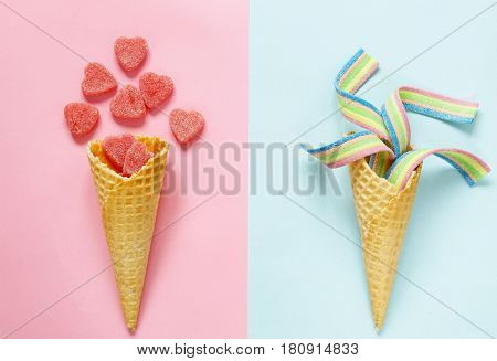 waffle cone with jelly sweets - funny food