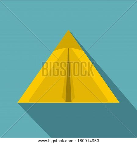 Yellow tourist tent for travel and camping icon. Flat illustration of yellow tourist tent for travel and camping vector icon for web
