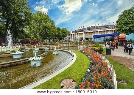 COPENHAGEN DENMARK - JUNE 15: View of Tivoli Gardens with fountain in 2012