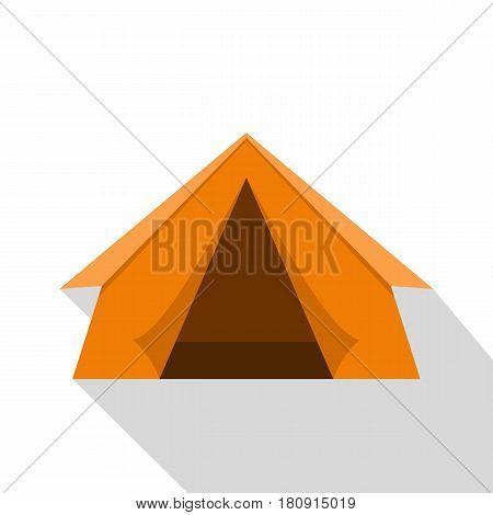 Orange touristic camping tent icon. Flat illustration of orange touristic camping tent vector icon for web