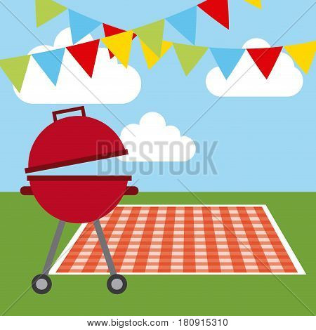 picnic tablecloth, barbecue and decorative pennants over sky background. colorful design. vector illustration
