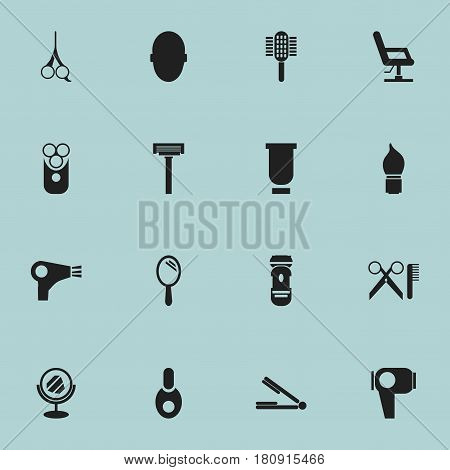 Set Of 16 Editable Tonsorial Artist Icons. Includes Symbols Such As Charger, Peeper, Cut Tool And More. Can Be Used For Web, Mobile, UI And Infographic Design.