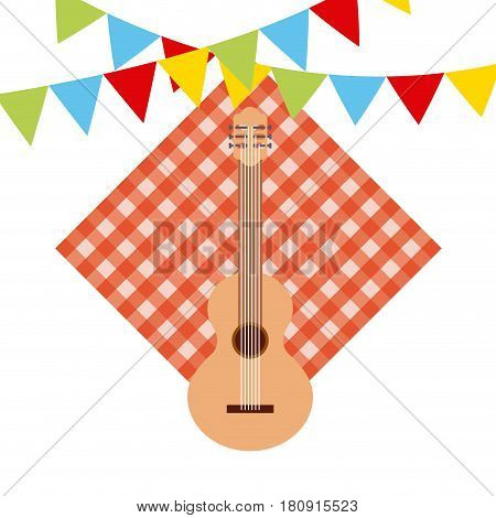 picnic tablecloth, guitar and decorative pennants over white background. colorful design. vector illustration