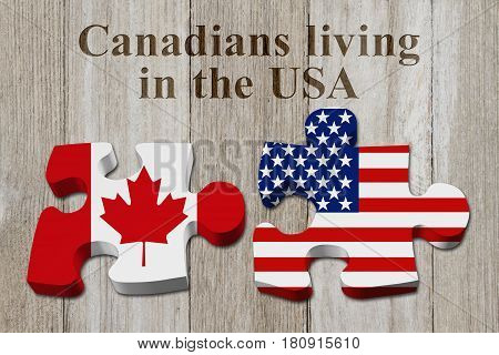 Laws and rules for living in the USA Two puzzle pieces with the flags of USA and Canada on weathered wood with text Canadians living in the USA 3D Illustration