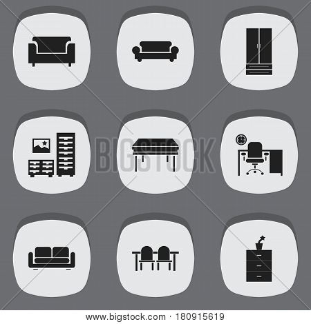 Set Of 9 Editable Furniture Icons. Includes Symbols Such As Cupboard, Restaurant Table, Plant Pot And More. Can Be Used For Web, Mobile, UI And Infographic Design.