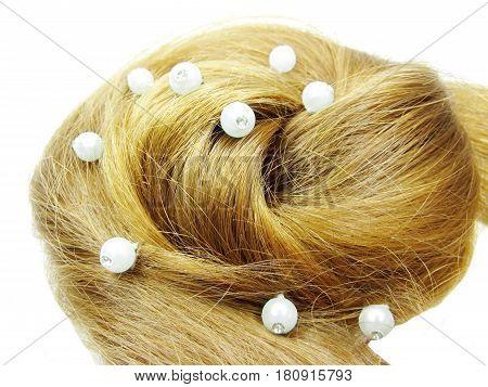 gingery hair wedding coiffure isolated on white background