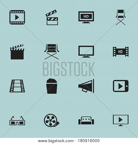 Set Of 16 Editable Cinema Icons. Includes Symbols Such As Monitor, Movie Player, Chair And More. Can Be Used For Web, Mobile, UI And Infographic Design.