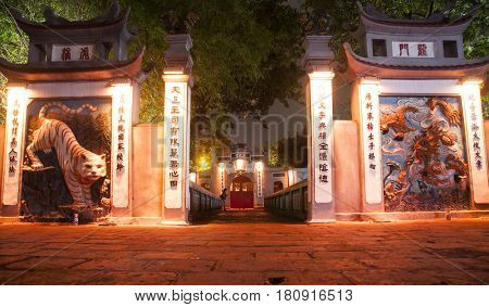 Hanoi, Vietnam - March 9, 2017: The Ngoc Son Temple entrance at night in Hanoi.