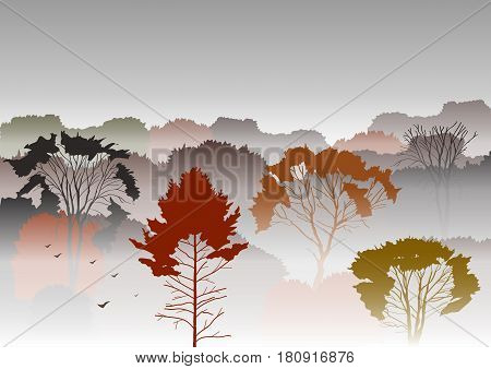 Vector illustration. Silhouettes of autumnal mountains with trees in fog. Smog autumn mysterious landscape. Template for site tourist brochures.