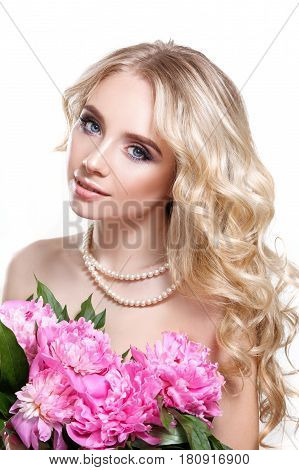 Beauty Woman On White Background Holding A Bouquet Of Pink Flowers Peonies