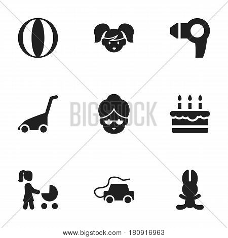 Set Of 9 Editable Relatives Icons. Includes Symbols Such As Patisserie, Grass Cutting Machine, Balloon And More. Can Be Used For Web, Mobile, UI And Infographic Design.