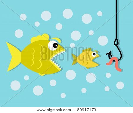 A small fish wants to eat a worm on a hook, and a big predator fish wants to eat a small fish