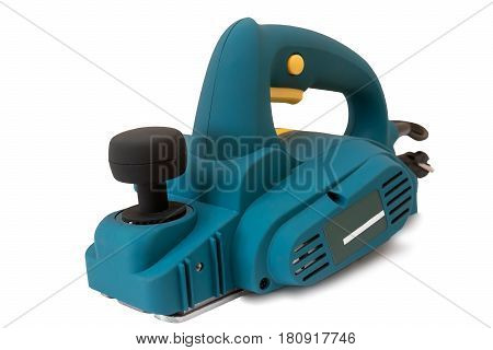 Portable electric hand planer . Presented on a white background.