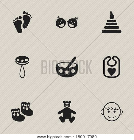 Set Of 9 Editable Kid Icons. Includes Symbols Such As Shoes For Babies, Merry Children, Pinafore And More. Can Be Used For Web, Mobile, UI And Infographic Design.