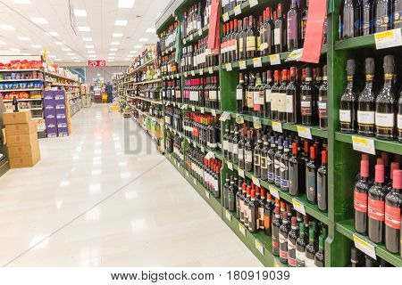 ITALY, MILAN- MAY 11, 2016: Shelves in Lidl supermarket. Lidl is a global discount supermarket chain